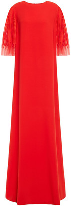 Oscar de la Renta Embroidered Tulle And Silk-blend Crepe Gown