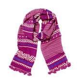 Mela Artisans Orissa Scarf in Pink, Purple & White