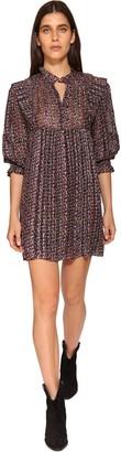 BA&SH Deep Floral Print Silk Blend Mini Dress