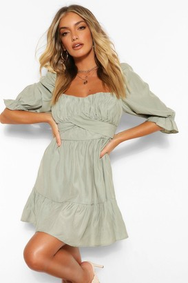 boohoo Square Neck Puff Sleeve Skater Dress