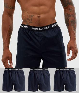 Jack and Jones 3 pack woven boxers in black