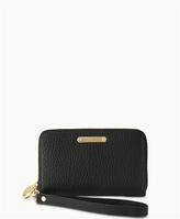 GiGi New York Wristlet Phone Wallet Black Pebble Grain