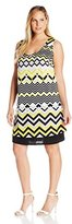 Notations Women's Plus Size Placement Print Sleeveless Dress with Criss Cross Back Strap
