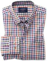 Charles Tyrwhitt Slim Fit Button-Down Non-Iron Poplin Berry Multi Gingham Cotton Casual Shirt Single Cuff Size XS