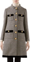 Gucci Velvet Trim Houndstooth Wool Blend Coat