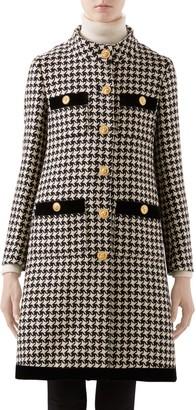 Gucci Velvet Trim Houndstooth Wool Blend Coat