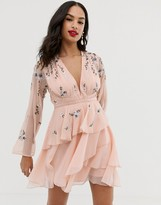 Asos Design DESIGN tiered ruffle mini dress with embroidery and waist detail