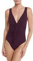 Karla Colletto Fringe-Front Underwire V-Neck One-Piece Swimsuit