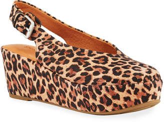 Gentle Souls Nyomi Leopard Comfort Wedge Pumps