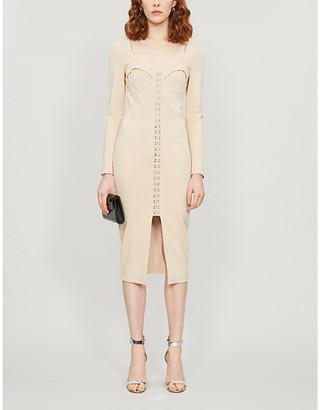 Lavish Alice Hook-and-eye square-neck woven midi dress