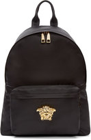 Versace Black and Gold Nylon Medusa Backpack
