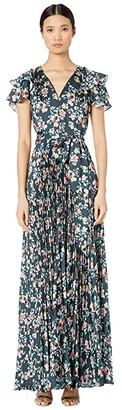 ML Monique Lhuillier Long Pleated Dress (Navy Multi) Women's Dress