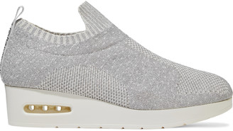 DKNY Angie Monogram-trimmed Metallic Stretch-knit Wedge Sneakers