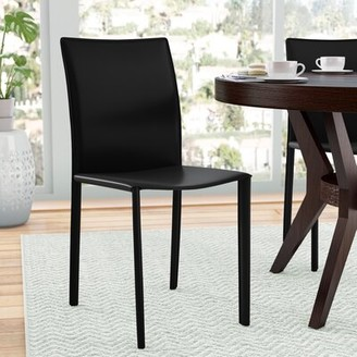 Ivy Bronx Kaysen Leather Side Chair (Set of 2 Upholstery Color: Black