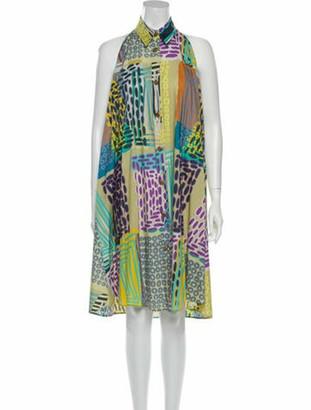 Etro Printed Knee-Length Dress Blue