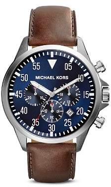 Michael Kors Gage Leather Strap Watch, 45mm