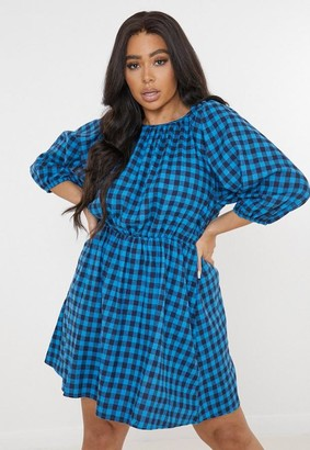 Missguided Plus Size Blue Plaid Smock Dress