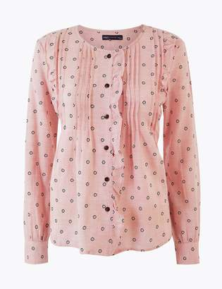 Marks and Spencer Cotton Rich Pintuck Pioneer Blouse