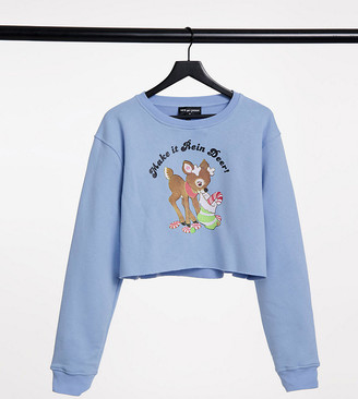 New Girl Order Curve oversized crop sweatshirt with vintage make it rein deer xmas graphic