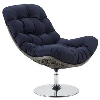 Bronx Mauston Wicker Rattan Swivel Patio Chair Ivy Cushion Color: Navy