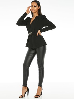 Quiz Puff Sleeve Peplum Buckle Detail Top - Black