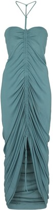 Bottega Veneta Ruched Halterneck Midi Dress