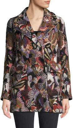 Valentino Butterfly-Print Wool & Cashmere-Blend Coat