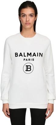 Balmain Logo Flocked Cotton Sweatshirt