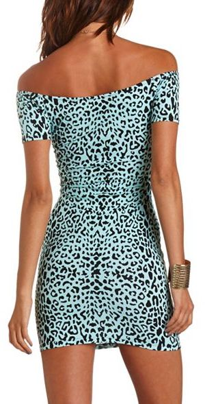 Charlotte Russe Printed Off-the-Shoulder Body-Con Dress