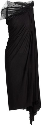 Rick Owens Lilies Tulle Drape Shift Dress