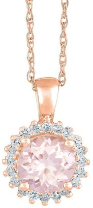 Premier 1.50cttw Round Morganite & Diamond Pendant, 14K