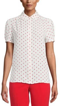 Anne Klein Dot-Print Short-Sleeve Blouse