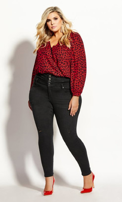 City Chic Leopard Bodysuit - red