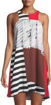 Milly High-Neck Angular Trapeze Dress