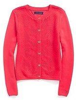 Tommy Hilfiger Big Girl's Mixed Knit Cardigan
