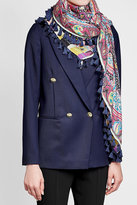 Etro Printed Wool and Silk Scarf with Tassels