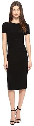KAMALIKULTURE by Norma Kamali Short Sleeve Crew Neck Shirred Waist Dress (Black) Women's Dress