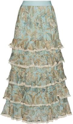 Zimmermann Ladybeetle paisley-print tiered skirt