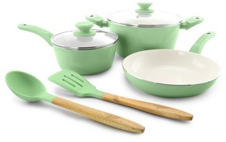 Gibson Home Gibson Town Market Square 7 Piece Non-stick Enameled Essential Cookware and Cooking Utensil Set