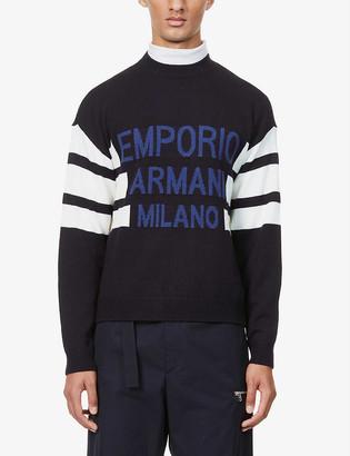 Emporio Armani Text stripe wool-blend jumper