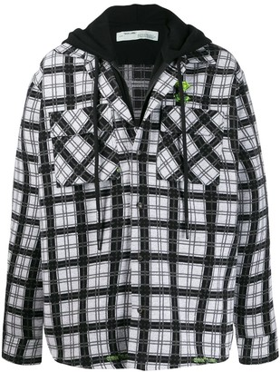 Off-White Check Pattern Layered Shirt Jacket