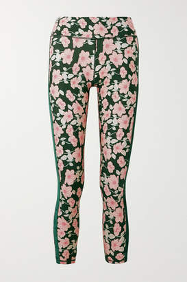 The Upside Poppy Velvet-trimmed Floral-print Stretch Leggings - Green