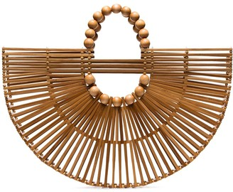 Cult Gaia X Adriana Degreas wooden fan tote bag