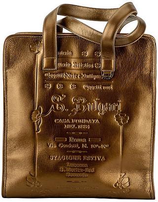 One Kings Lane Vintage Bulgari Bronze Leather Large Tote - Vintage Lux - bronze/gold