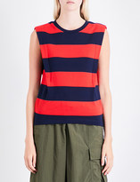 Izzue Striped cutout-detail cotton-jersey top