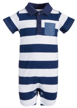 First Impressions Baby Boys Striped Polo Cotton Sunsuit, Created for Macy's
