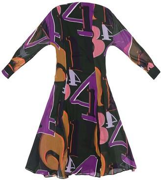 Tomcsanyi Margit Grid Numbers Print Open Back Tie Midi Dress