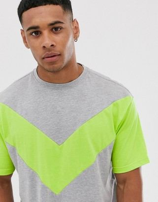 Another Influence cut and sew neon boxy t-shirt