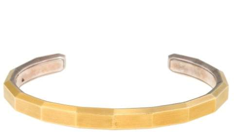 David Yurman 0.925 Sterling Silver and 18K Yellow Gold Faceted Silver Cuff Bracelet