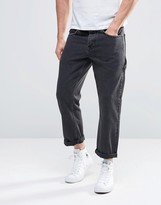 Asos Straight Cropped Workman Jeans In Washed Black